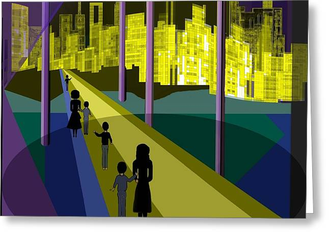 Little Boy Digital Greeting Cards -  286 - Nightwalking to the golden city 2 Greeting Card by Irmgard Schoendorf Welch