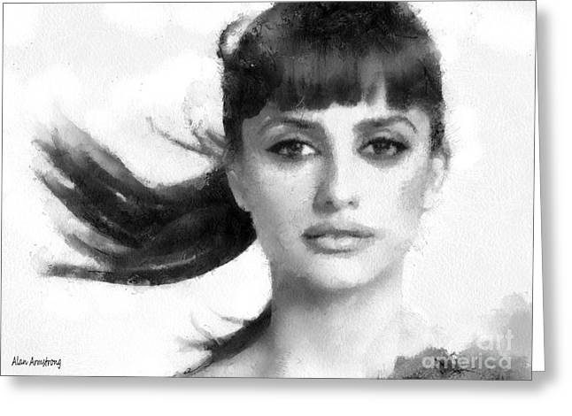 Penelope Cruz Greeting Cards - # 29 Penelope Cruz Portrait Greeting Card by Alan Armstrong
