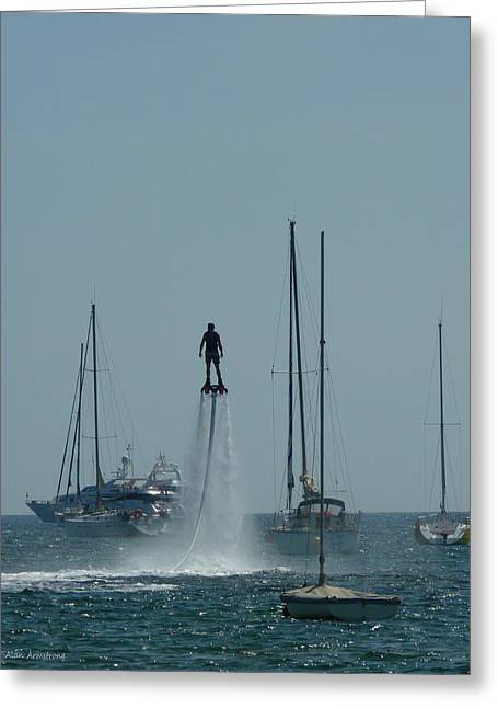 Jet-propelled Greeting Cards - # 3 Skyboarding Ibiza Spain Greeting Card by Alan Armstrong