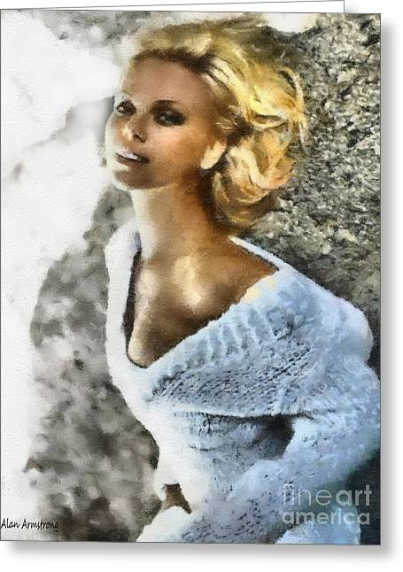# 32 Charlize Theron Portrait Greeting Card by Alan Armstrong