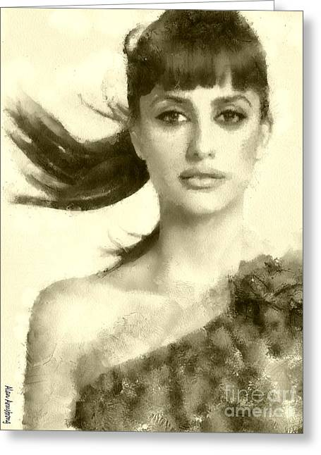 Penelope Cruz Greeting Cards - # 32 Penelope Cruz Portrait Greeting Card by Alan Armstrong