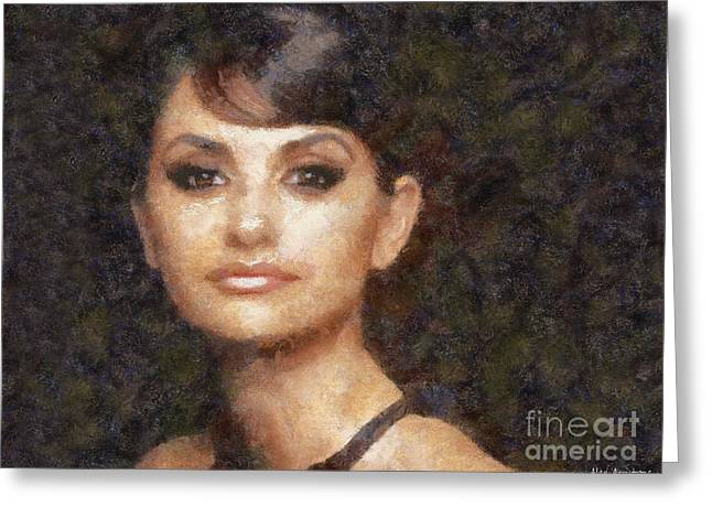 Penelope Cruz Greeting Cards - # 33 Penelope Cruz Portrait Greeting Card by Alan Armstrong