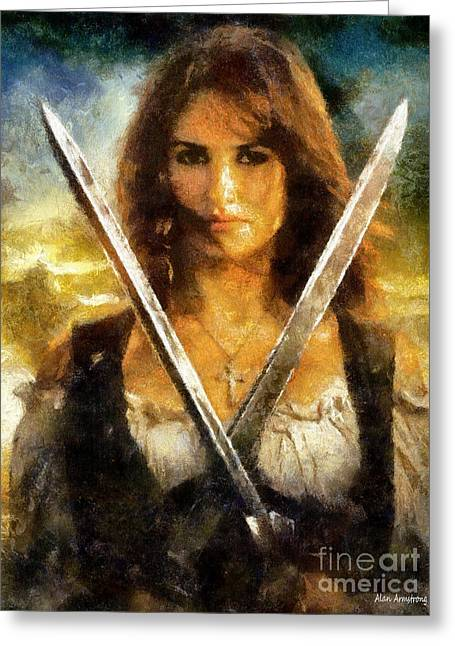 Penelope Cruz Greeting Cards - # 34 Penelope Cruz Portrait Greeting Card by Alan Armstrong