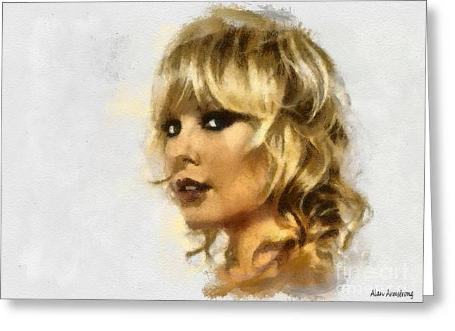 Charlize Theron Greeting Cards - # 35 Charlize Theron Portrait Greeting Card by Alan Armstrong