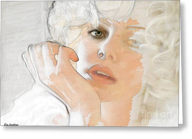 # 38 Charlize Theron Portrait Greeting Card by Alan Armstrong