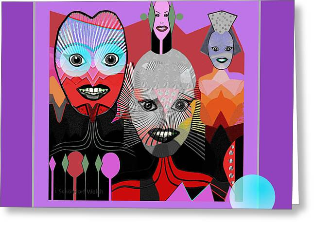 Hallucination Digital Greeting Cards -   384 - Crazy Dollies smiling Greeting Card by Irmgard Schoendorf Welch