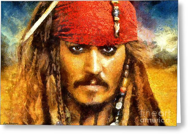 Captain Jack Sparrow Art Greeting Cards - # 5 Johnny Depp Portrait Greeting Card by Alan Armstrong