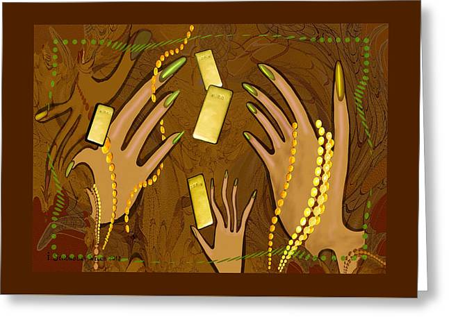 Warp Greeting Cards -  548 - Gold Fingers .... Greeting Card by Irmgard Schoendorf Welch