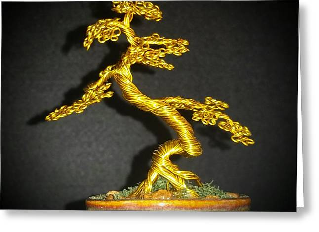 Etc. Sculptures Greeting Cards - # 71 Brass wire tree sculpture Greeting Card by Ricks  Tree Art