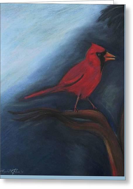 Bird On Tree Pastels Greeting Cards -  A Cardinal Greeting Card by Liz Palumbo