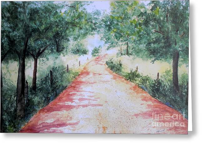 Gravel Road Paintings Greeting Cards -  A Country Road Greeting Card by Vicki  Housel