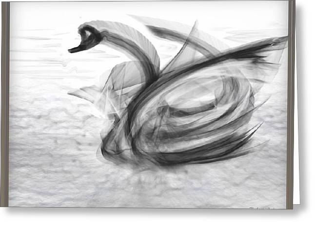 Geometric Image Greeting Cards - a FABRIC-ated Swan Melody  Greeting Card by RSVPalmer