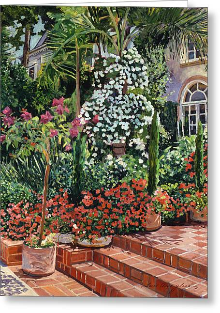 A Garden Approach Greeting Card by David Lloyd Glover