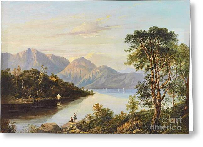 A Summer Evening Landscape Greeting Cards -  A Highland Loch Landscape Greeting Card by Charlotte Nasmyth