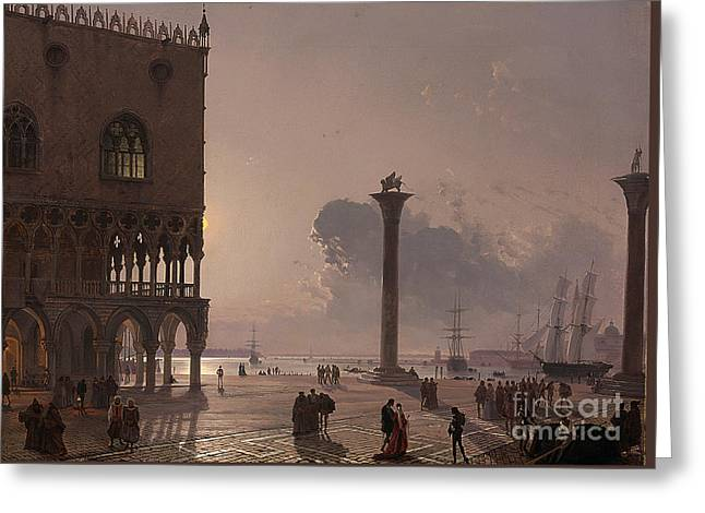 A Moonlit View Of The Piazza San Marco Greeting Card by Celestial Images