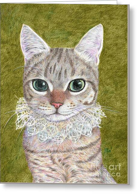 Worn In Drawings Greeting Cards -  A Noble Cat Wearing A Ruffled Collar Greeting Card by Jingfen Hwu