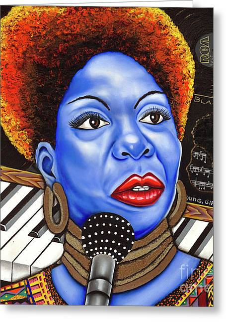 Nannette Harris Greeting Cards -  A Part of Nina Simone Greeting Card by Nannette Harris