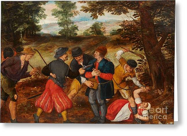 Flemish School; (17th Century) Greeting Cards -  A Robbery on a Country Road Greeting Card by MotionAge Designs