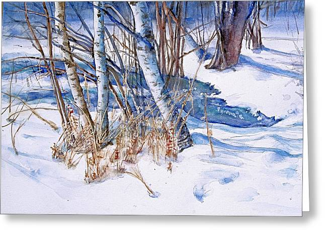Snowscape Paintings Greeting Cards -  A Snowy Knoll Greeting Card by June Conte  Pryor