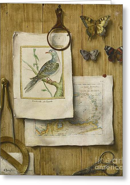 French School; (18th Century) Greeting Cards -  A Trompe Loeil With Magnifying Glass Greeting Card by French School