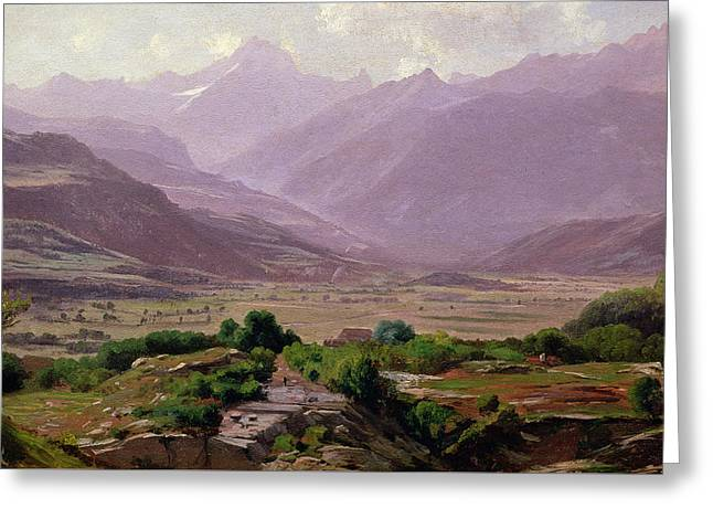 Mountain Greeting Cards -  A valley at dawn Greeting Card by Antoine Chintreuil