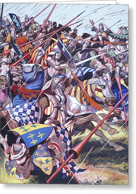 The Horse Greeting Cards -  Agincourt The Impossible Victory 25 October 1415 Greeting Card by Ron Embleton