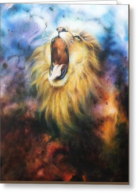 Red Abstracts Greeting Cards -  airbrush painting of a mighty roariMajestic lion male with golden mane illustration in abstract col Greeting Card by Jozef Klopacka