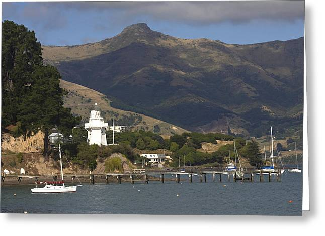 Docked Sailboat Greeting Cards -  Akaroa Harbor Greeting Card by Sally Weigand