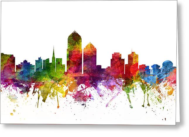 Albuquerque New Mexico Greeting Cards -  Albuquerque Cityscape 06 Greeting Card by Aged Pixel