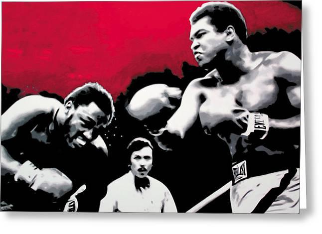 Ludzska Greeting Cards - - Ali vs Fraser - Greeting Card by Luis Ludzska