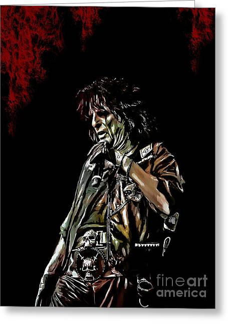 Vaudeville Greeting Cards -  Alice Cooper Greeting Card by Andrzej Szczerski