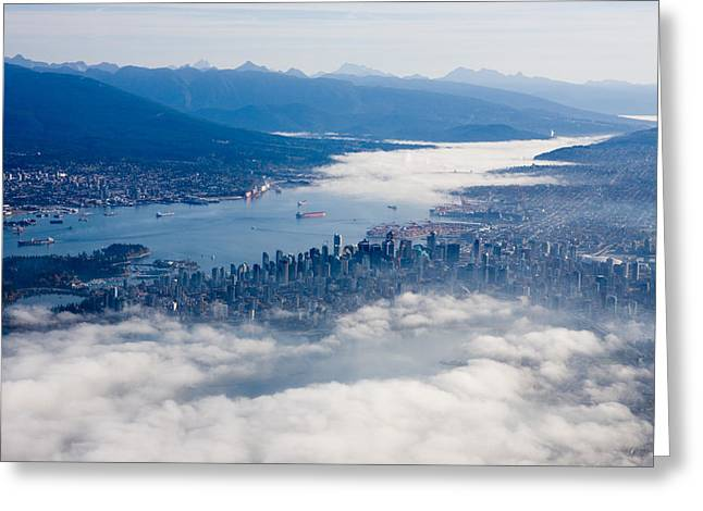 An Aerial View Of Vancouver Greeting Card by Taylor S. Kennedy