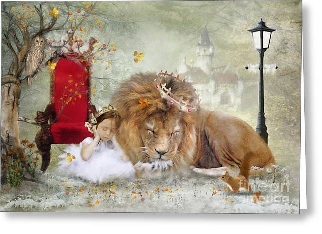 Narnia Greeting Cards - ..... And She Sleeps Greeting Card by Trudi Simmonds