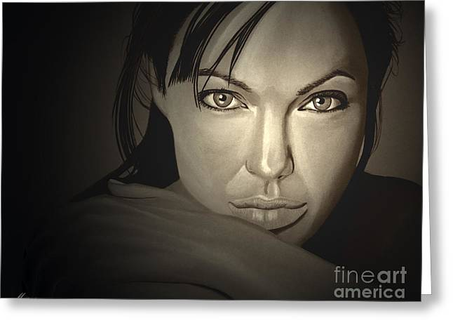 The Rolling Stones Art Work Greeting Cards -  Angelina Jolie Greeting Card by Meijering Manupix