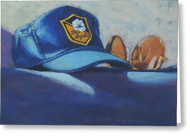 Angel Blues Greeting Cards -  Angels Hat and Sunglasses Greeting Card by Bill Tomsa