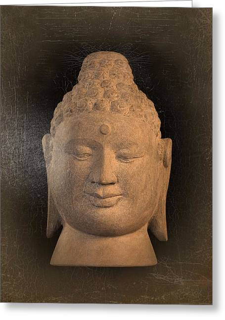Tranquil Sculptures Greeting Cards -  antique oil effect Buddha Borobudur Greeting Card by Terrell Kaucher