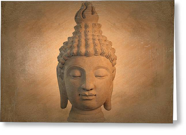 Tranquil Sculptures Greeting Cards -  antique oil effect Buddha Sukhothai , Greeting Card by Terrell Kaucher