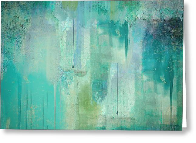 Aqua Circumstance Abstract Greeting Card by Mindy Sommers