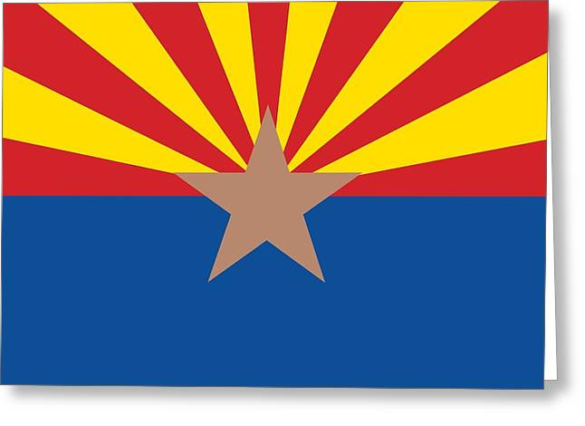 Flag Of Usa Greeting Cards -  Arizona state flag Greeting Card by American School