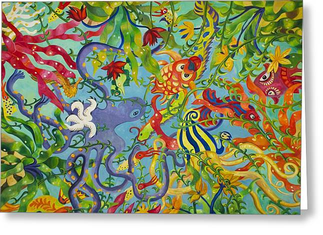 Sea Animals Greeting Cards - Ocean of Colors Greeting Card by Sheela Ajith