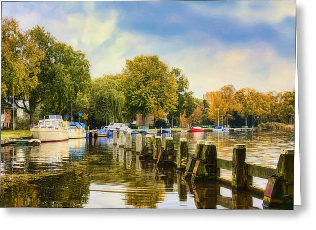 Willow Lake Greeting Cards -  Autumn Day Greeting Card by Nadia Sanowar