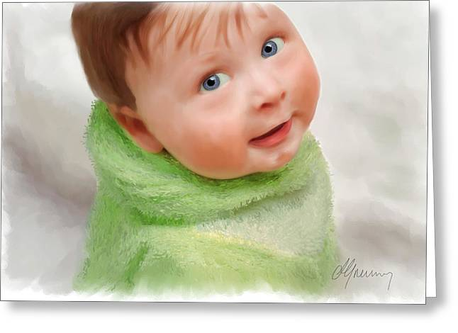 Baby Blue Eyes Greeting Card by Michael Greenaway