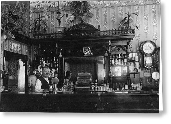 Saloons Greeting Cards -  Bartender In Saloon 1912 Black White 1910s Abuse Greeting Card by Mark Goebel