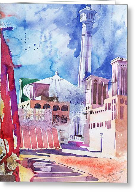 Minarets Greeting Cards -  Bastakia   Dubai Greeting Card by Simon Fletcher