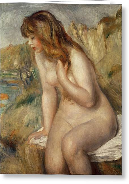 Brown Hair Greeting Cards -  Bather seated on a rock Greeting Card by Pierre Auguste Renoir