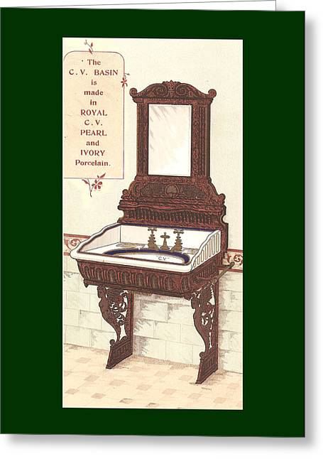 Mahogany Mixed Media Greeting Cards -  Bathroom Picture Wash stand Two Greeting Card by Eric Kempson