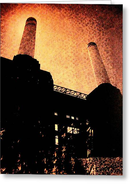 Polluting Greeting Cards -  Battersea power station Greeting Card by David Studwell