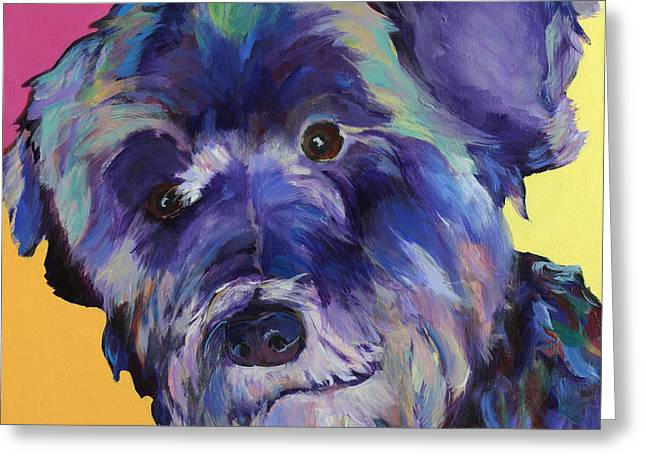 Schnauzer Art Greeting Cards -  Beau Greeting Card by Pat Saunders-White