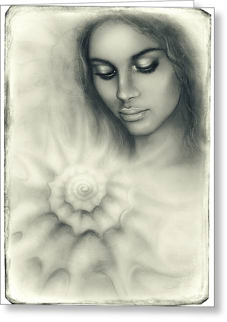 Seashell Picture Paintings Greeting Cards -  Beautiful Airbrush Portrait Of A Young Woman With Closed Eyes Meditating Upon A Spiraling Seashell  Greeting Card by Jozef Klopacka
