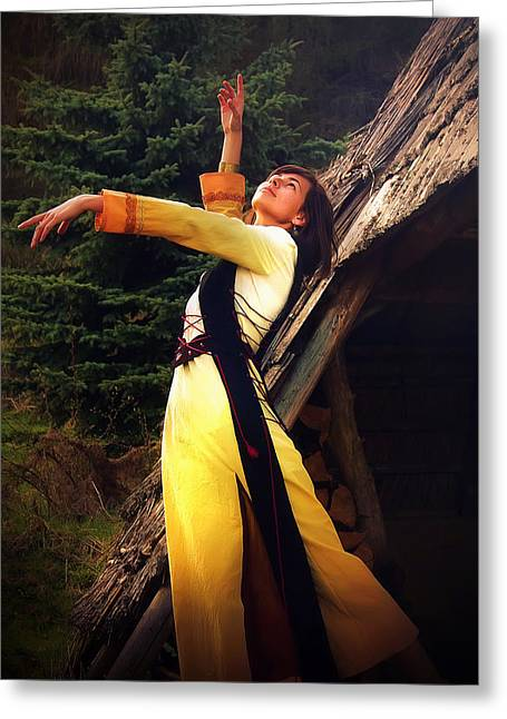 Log Cabins Greeting Cards -  Beautiful Girl In A Historical Costume Posing In A Dramatic Gesture Amids The Forest Surroundings  Greeting Card by Jozef Klopacka